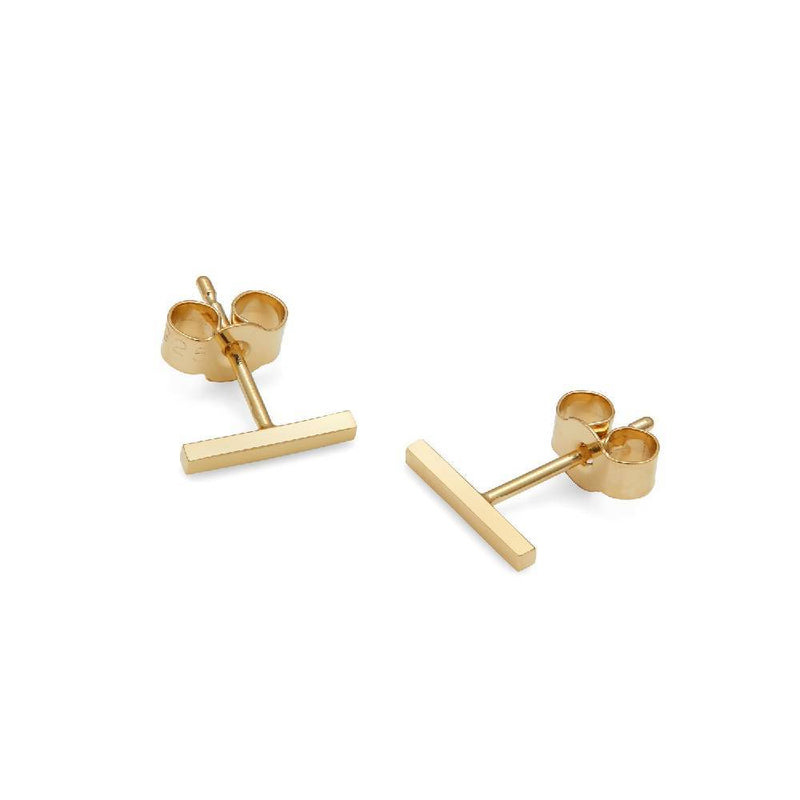 Bar Stud Earrings - 9k Yellow Gold - Myia Bonner Jewellery