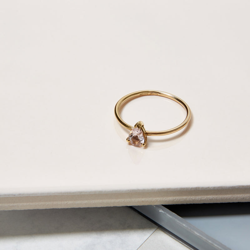 9k Yellow Gold & Pear Morganite Solitaire Ring - Myia Bonner Jewellery