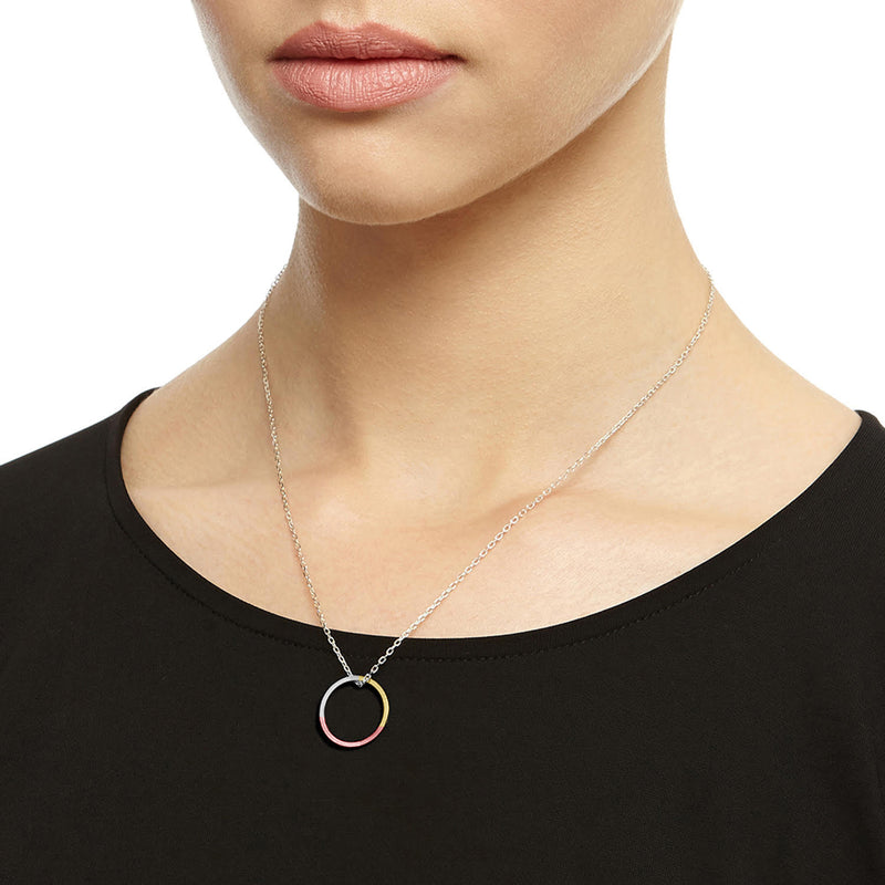 Three-Tone Circle Necklace - 9k Yellow & Rose Gold & Silver