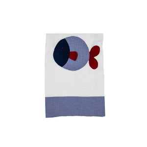 Cotton Towel with Fish Artwork and Colourful Cotton Profiles