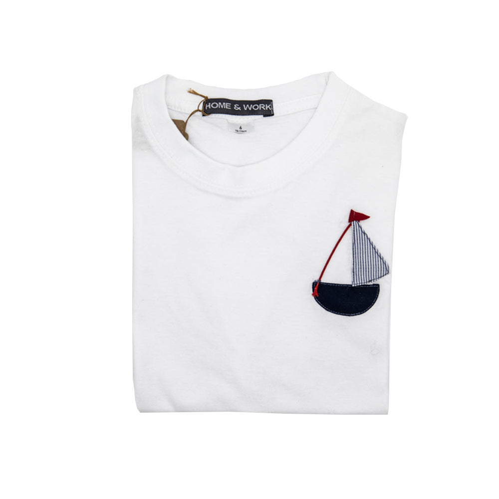 Boys Cotton T-shirt with Hand Sewn Boat Artwork