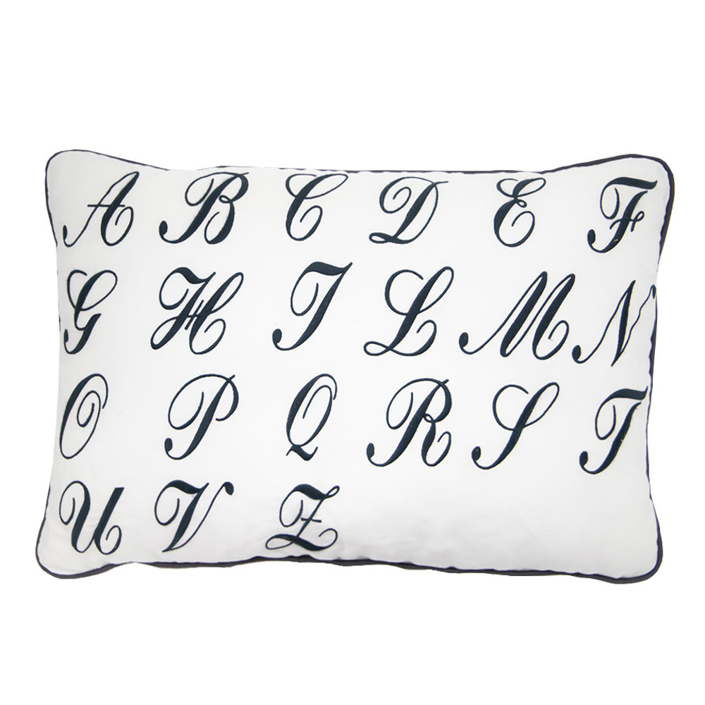 Linen Pillow with Hand Sewn Blue Letters