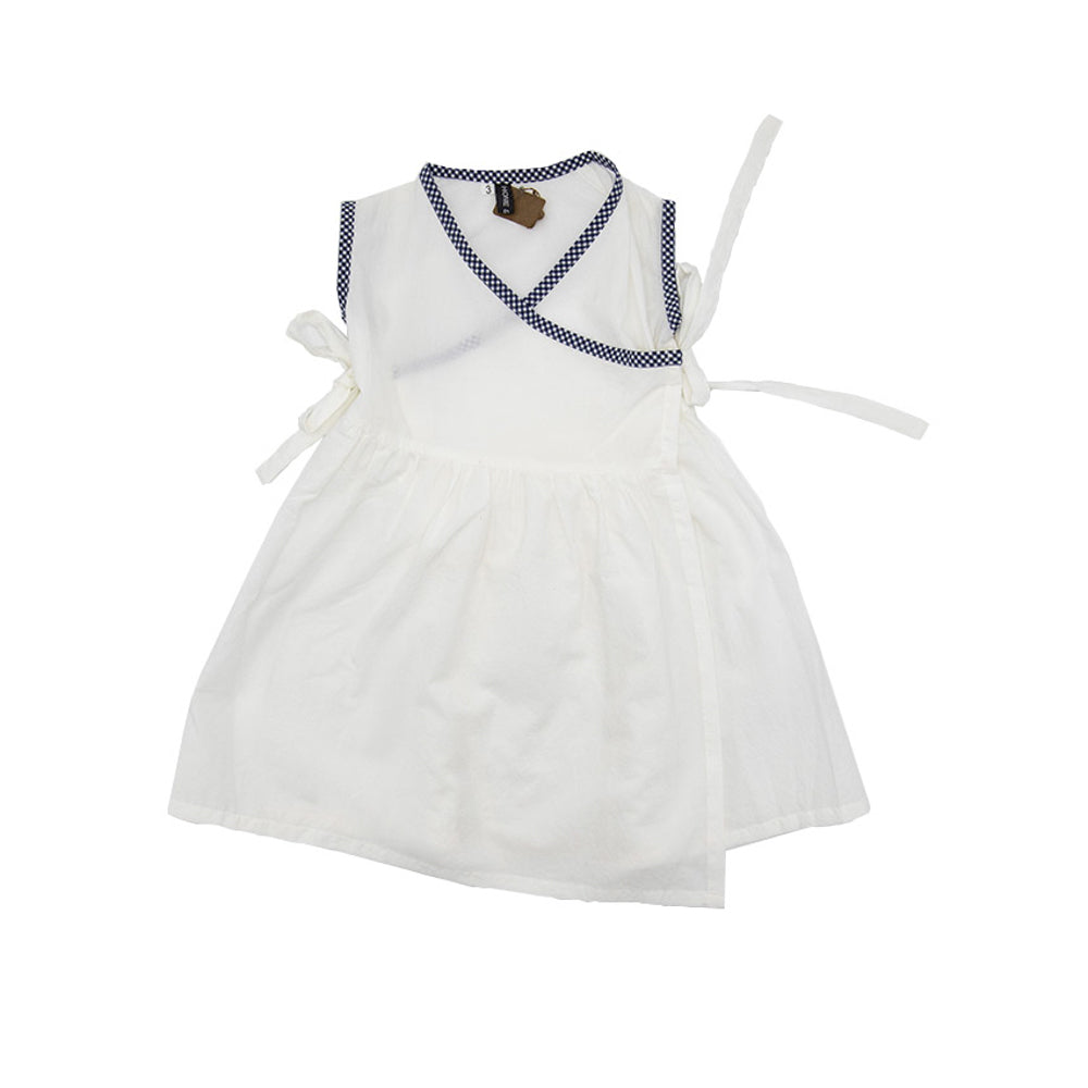 Bisso Cotton Cross Front Girls Summer Dress White with Checkered Profiles