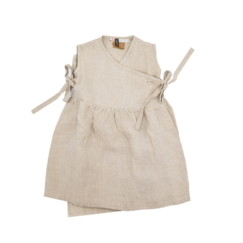 Linen Cross Front Girls Summer Dress