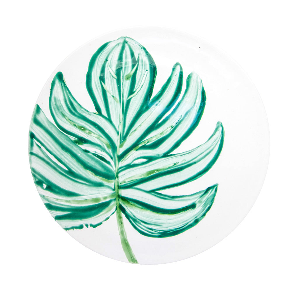 Ceramic Charger Plate with Hand Painted Leaves