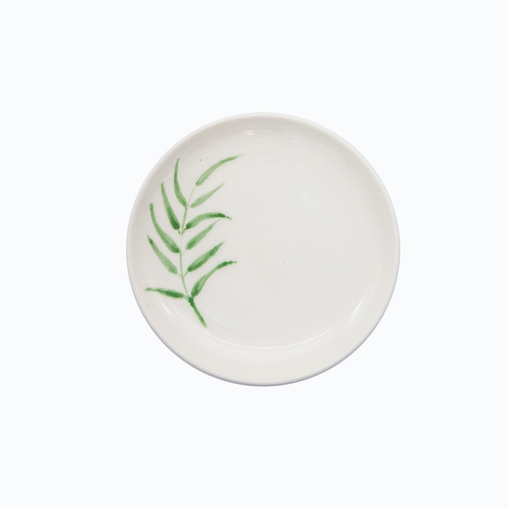 Ceramic Small White Plate with Hand Painted Botanic Artwork