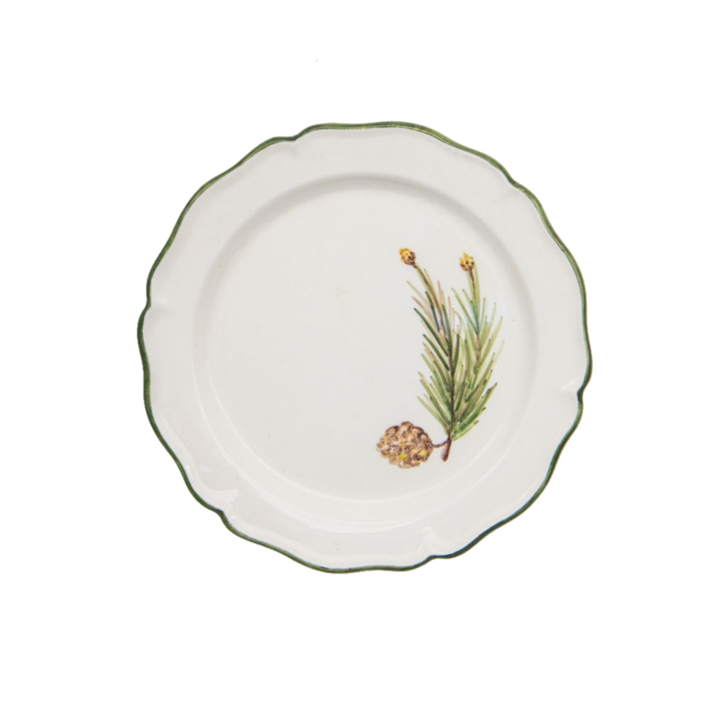 Ceramic Small White Plate with Hand Painted Floral Artwork
