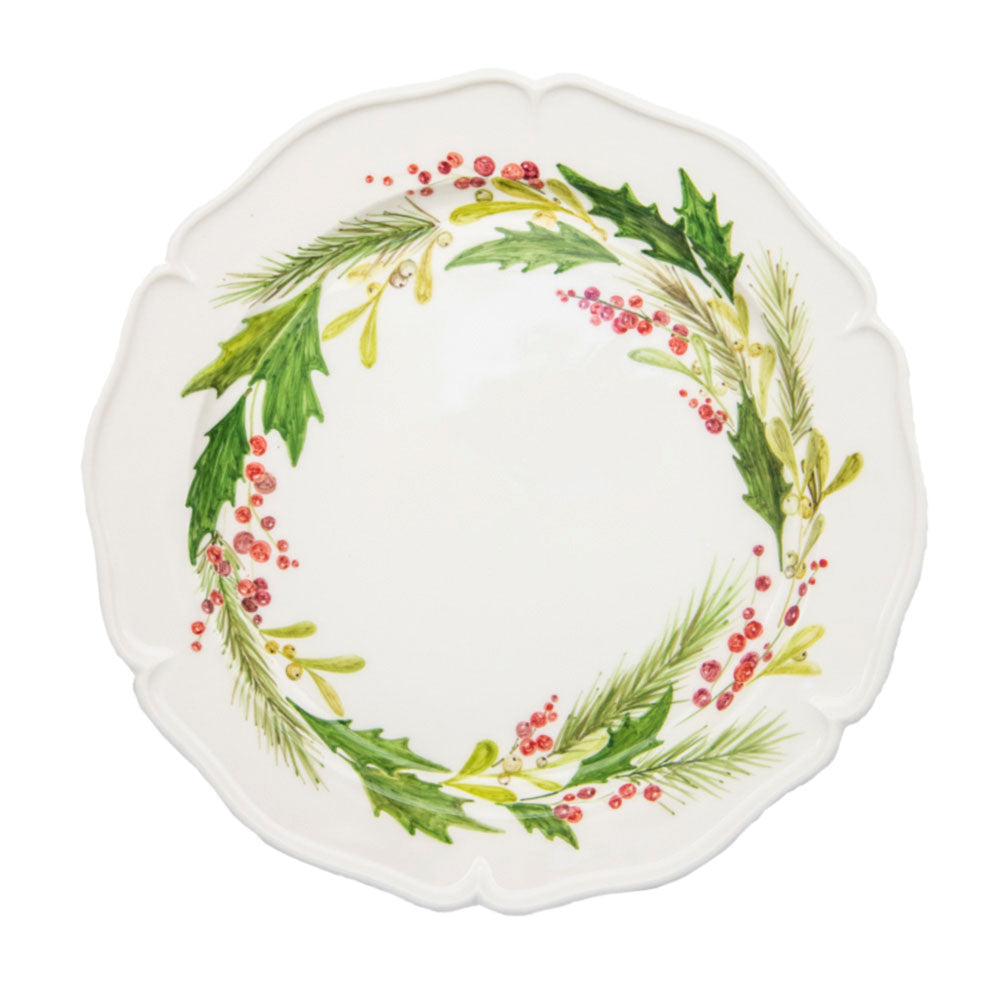 Ceramic Large White Plate with Hand Painted Floral Artwork