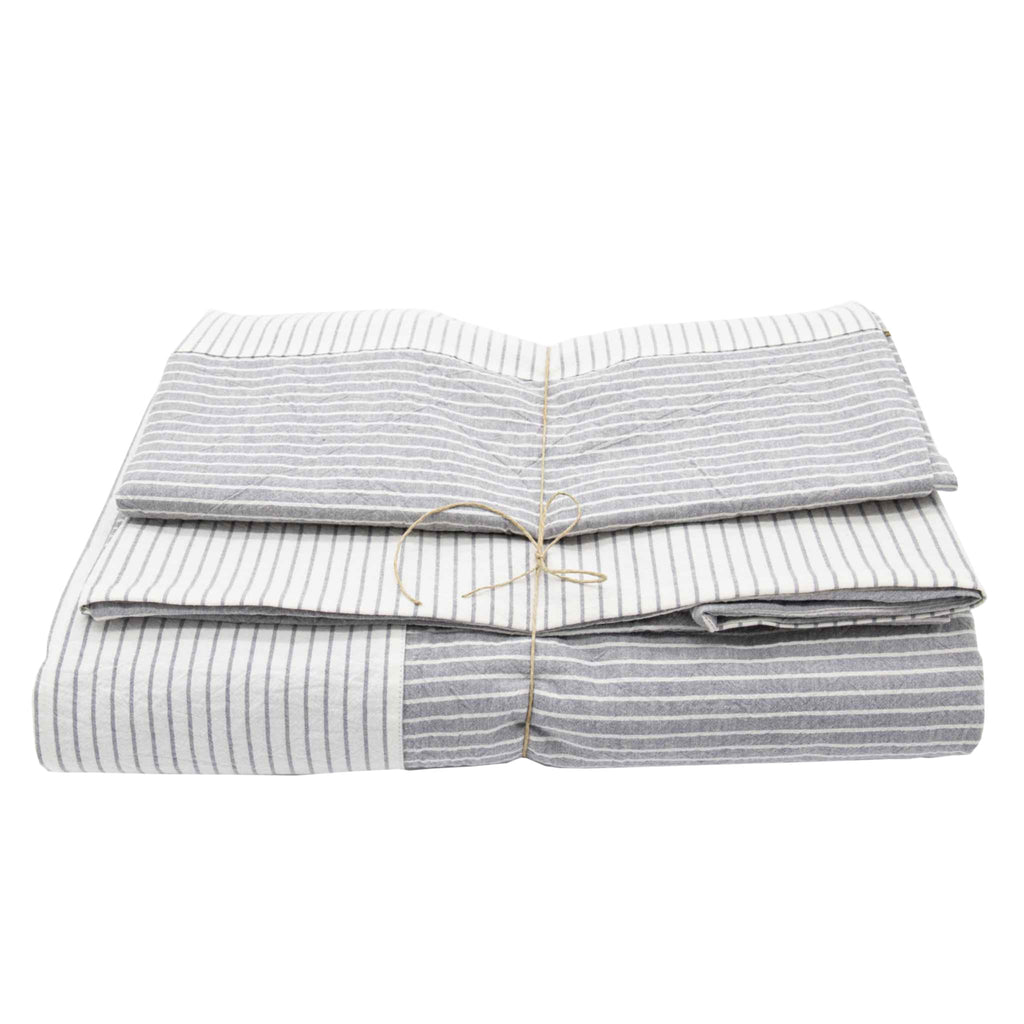 Cotton Bedding Set with White and Grey Stripes