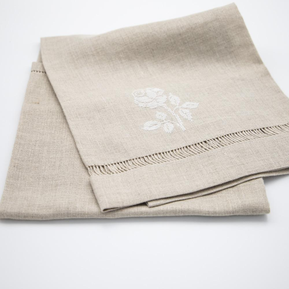 Linen Kitchen Towel with Hand Sewn Rose Artwork