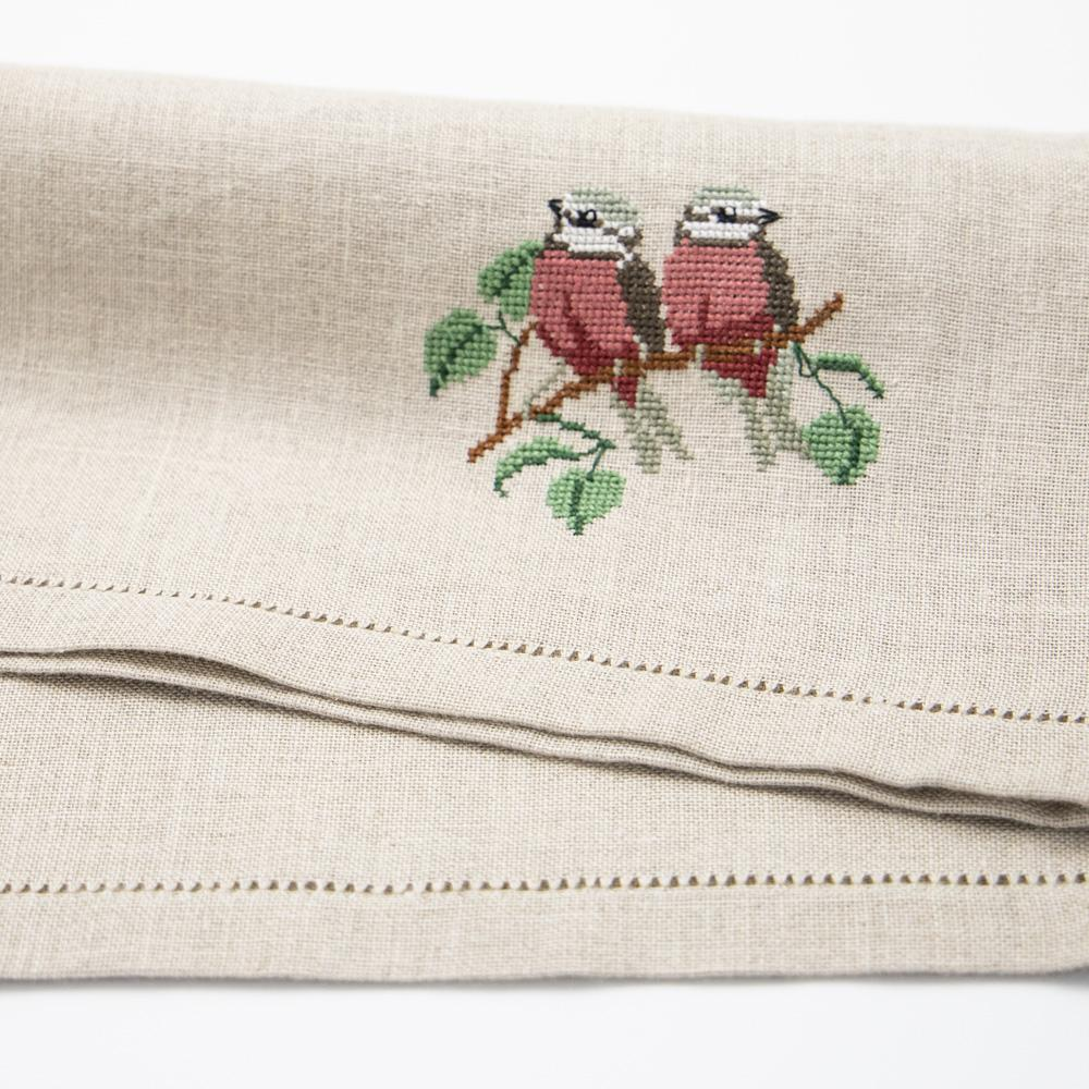 Linen Handmade Placemat in natural linen tones, with embroidered Robin. Cross-Stich with perfect finishing on both sides. Hemstich