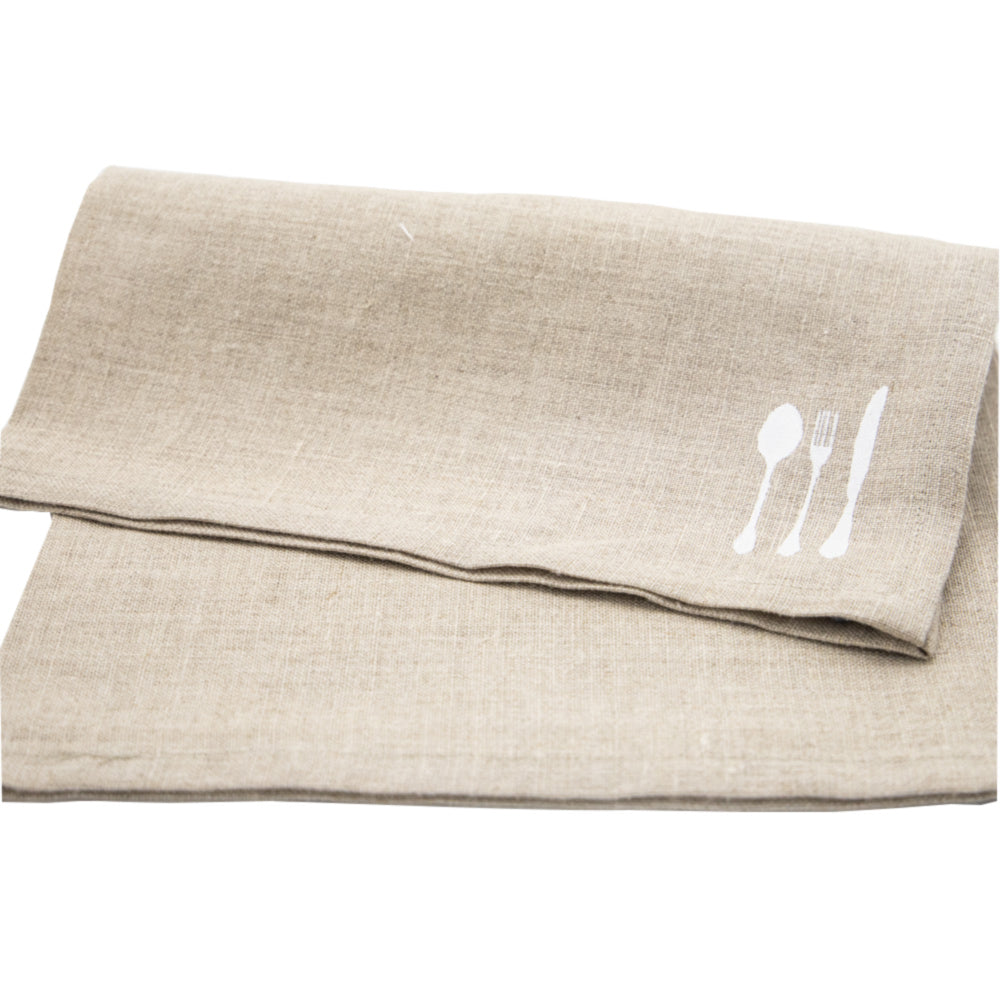 Linen Hand Sewn Placemat with Cutlery Artwork
