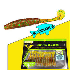 15pcs/lot T Tail Soft Grubs Maggot Plastic Fishing Lure -  50mm 1g