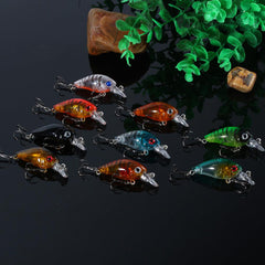 9pcs Hard Crank Bait Deep Sea Trout Bass Fishing Lures - 4.5cm/4g