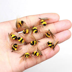 10pcs The Best Artificial Bumble Bee Fly Trout Fishing Lures