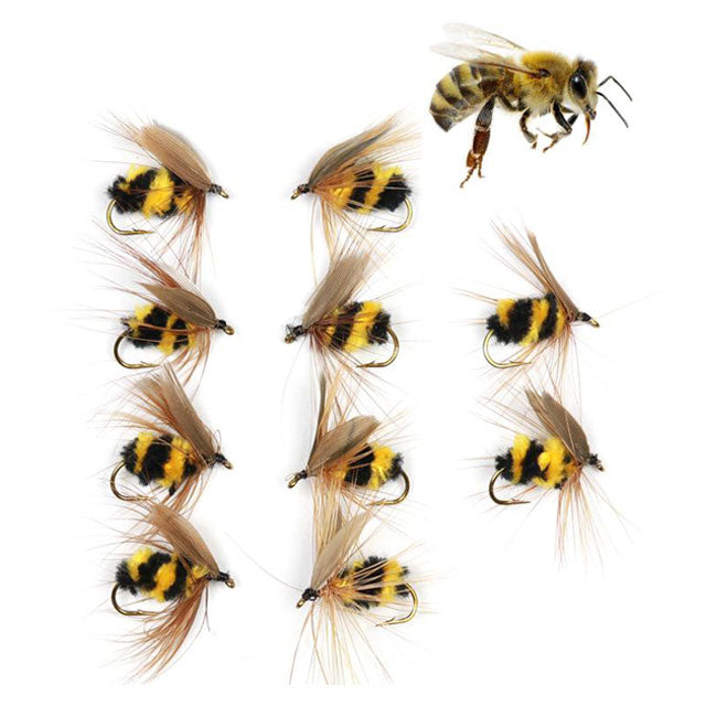 6pcs//Lot Artificial Insect Hook Bait Bumble Bee Tackle Fly Trout Fishing Lures