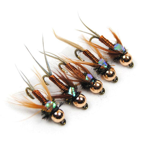 12PCS #12 Copper John Fly Brass Head Fly Fishing Trout Bait