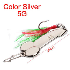 Silver & Gold Tackle, Metal Spinner Spoon Bait Good For Bass, Pikes Fishing Lure