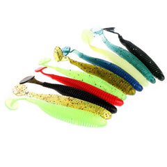 Silicone T Tail Swimming Bass Fishing Lures Worm Soft Bait