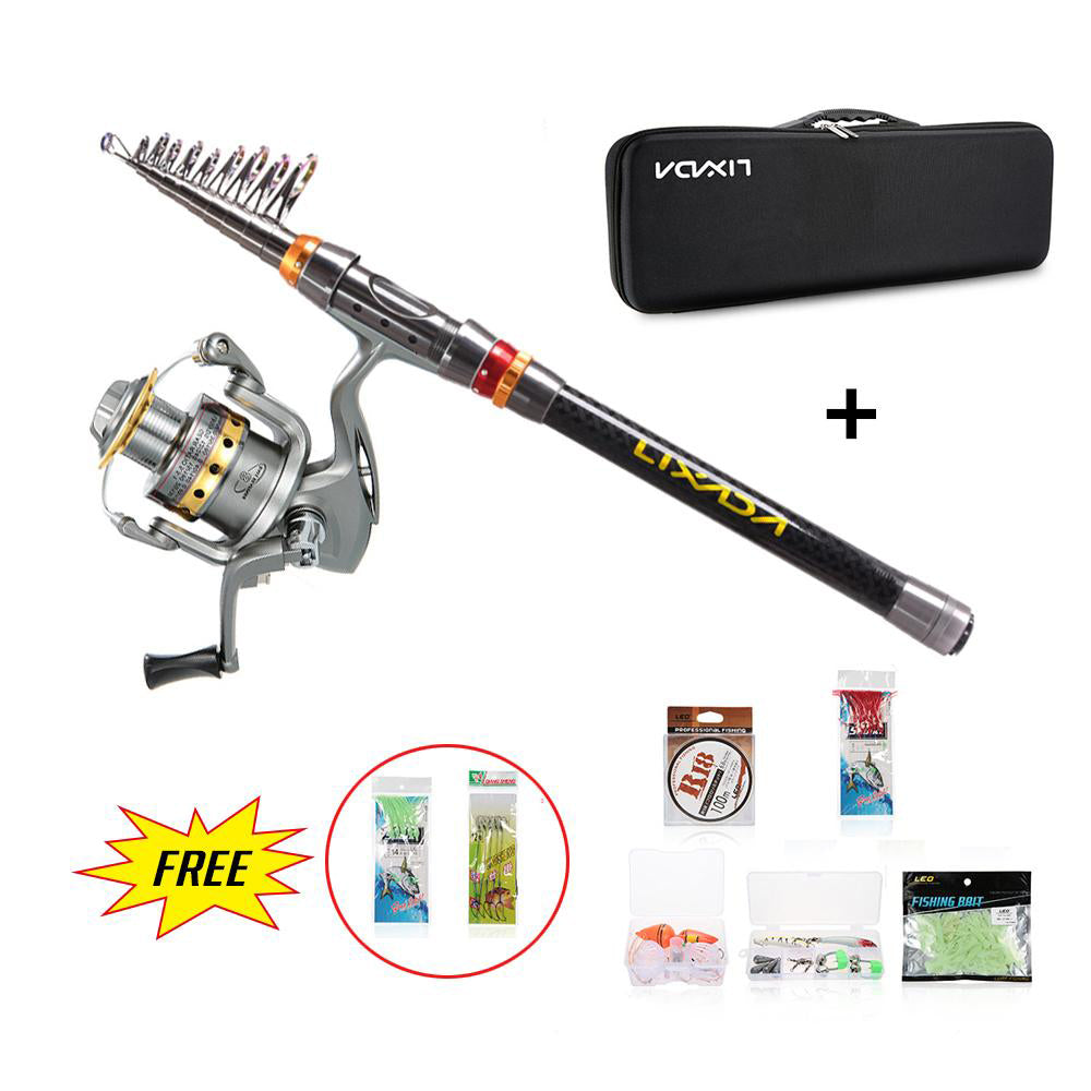 Telescopic Fishing Rod Reel Combo Full Kit