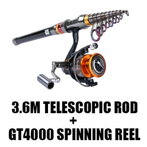 Telescopic Fishing Rod + 11BB Spinning Reel GT 4000 Combo
