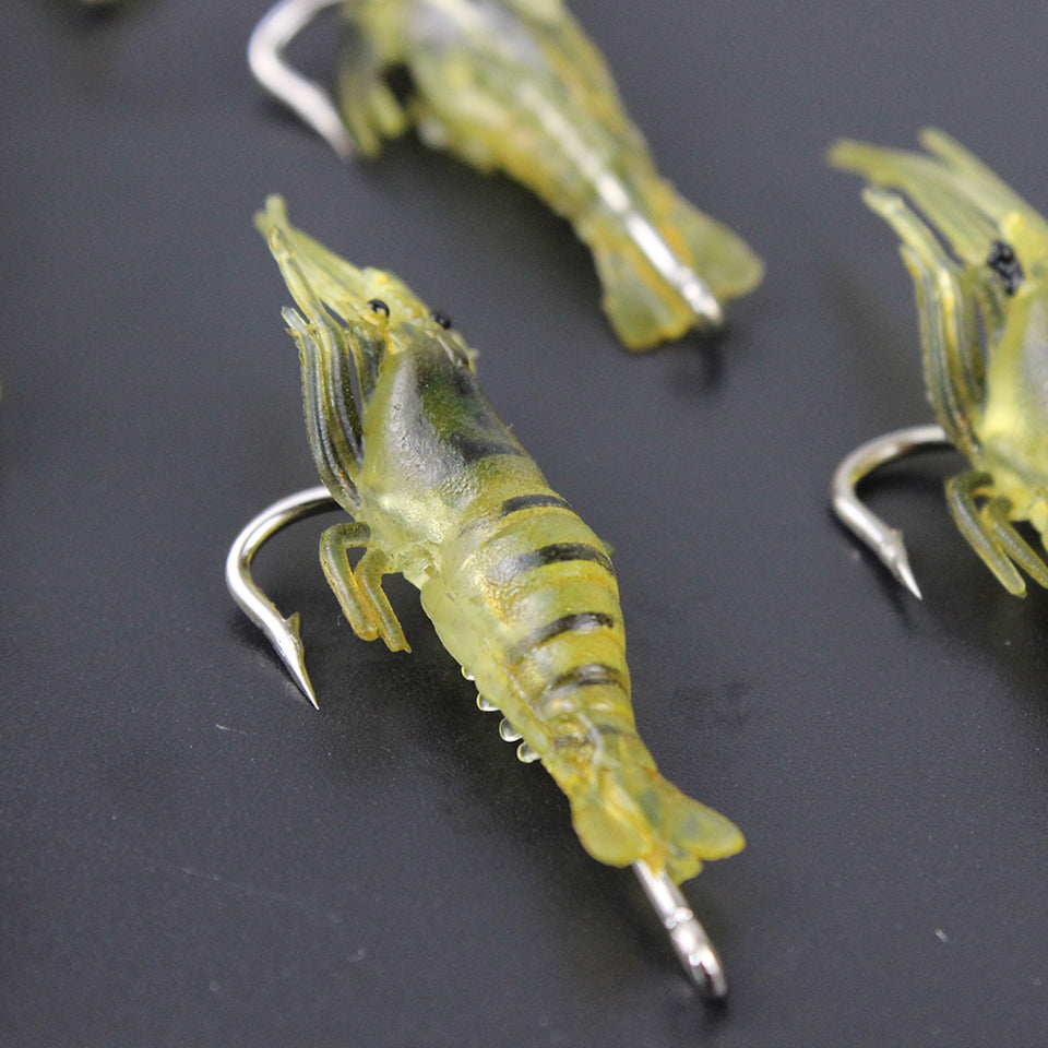 30PCS Saltwater/Freshwater Shrimp Lure with Hook 4cm 1.3g