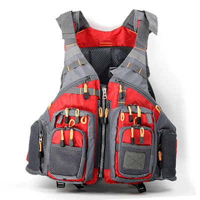red fishing vest