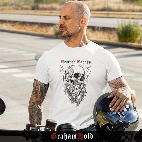 T-shirt barbu bearded badass Blanc Bio GrahamHold