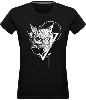 T-shirt Hibou design tatouage femme col rond 100% coton Graham Hold