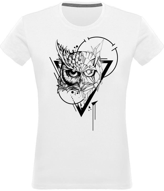 T-shirt Hibou design tatouage femme blanc 100% coton Graham Hold