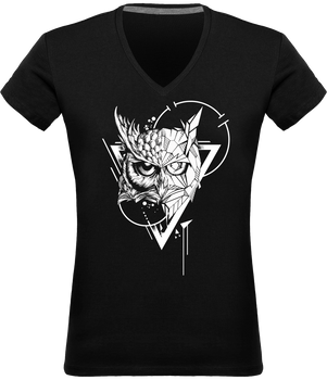 T-shirt hibou design tatouage femme noir Col en V 100% coton Graham Hold