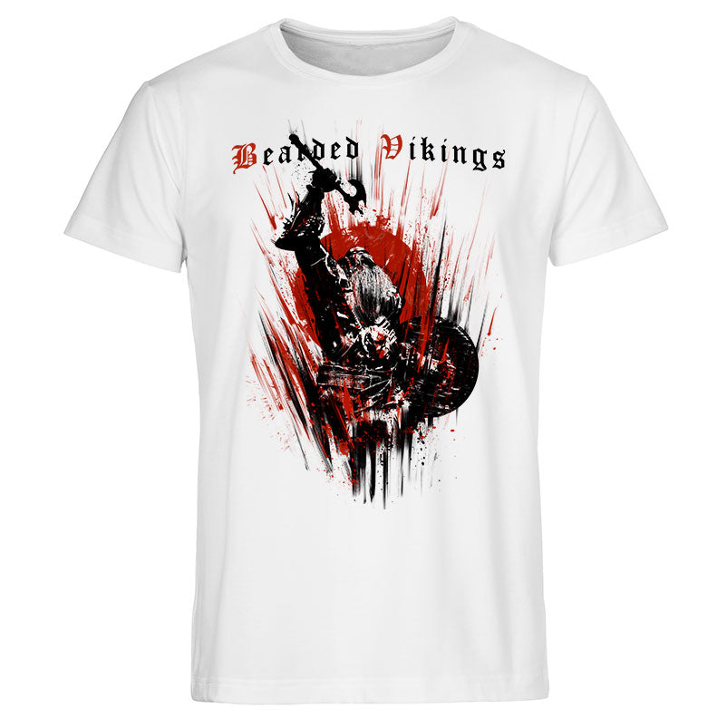 T-shirt Bearded Vikings -Blanc-coton-bio- grahamhold