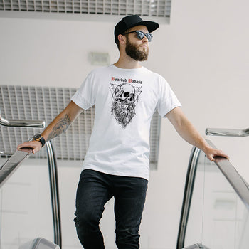 T-shirt Barbu Bearded Badass Blanc - Bio Grahamhold - collection original frenchy