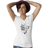 Tee-shirt Hibou grand duc tatouage blanc encolure en V pour femme 100% coton Graham Hold