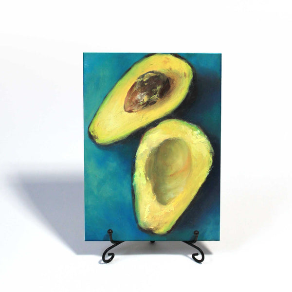 Avocado Twist : 5x7 inches - Galleria Fresco - food still life by Jo Bradney