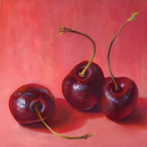 Cherry Trio : 5x5 inches - Galleria Fresco - food still life by Jo Bradney
