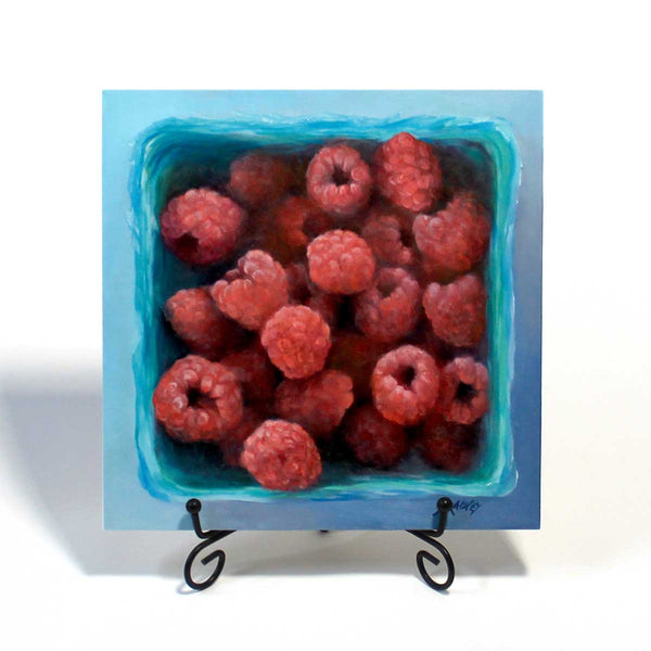 Raspberry Jewel Box : 8x8 inches - Galleria Fresco - food still life by Jo Bradney