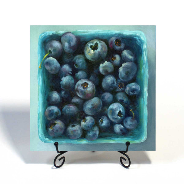 Blueberry Jewel Box : 8x8 inches - Galleria Fresco - food still life by Jo Bradney