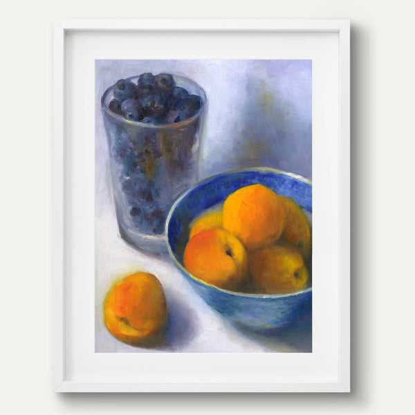 Apricots and a Pint of Blueberries - Art Print - Galleria Fresco - food still life by Jo Bradney