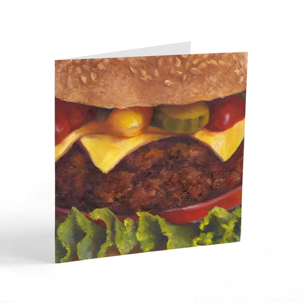 Smiley Burger - Note Cards - Galleria Fresco - food still life by Jo Bradney