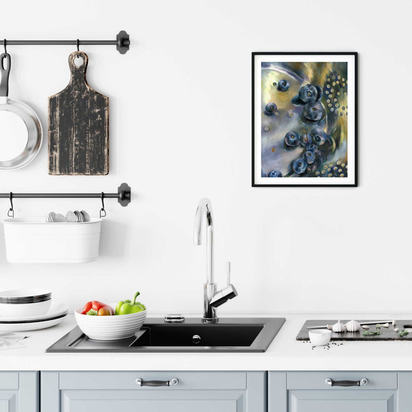 Sweetart Blues - Blueberry Art Print - Galleria Fresco - food still life by Jo Bradney