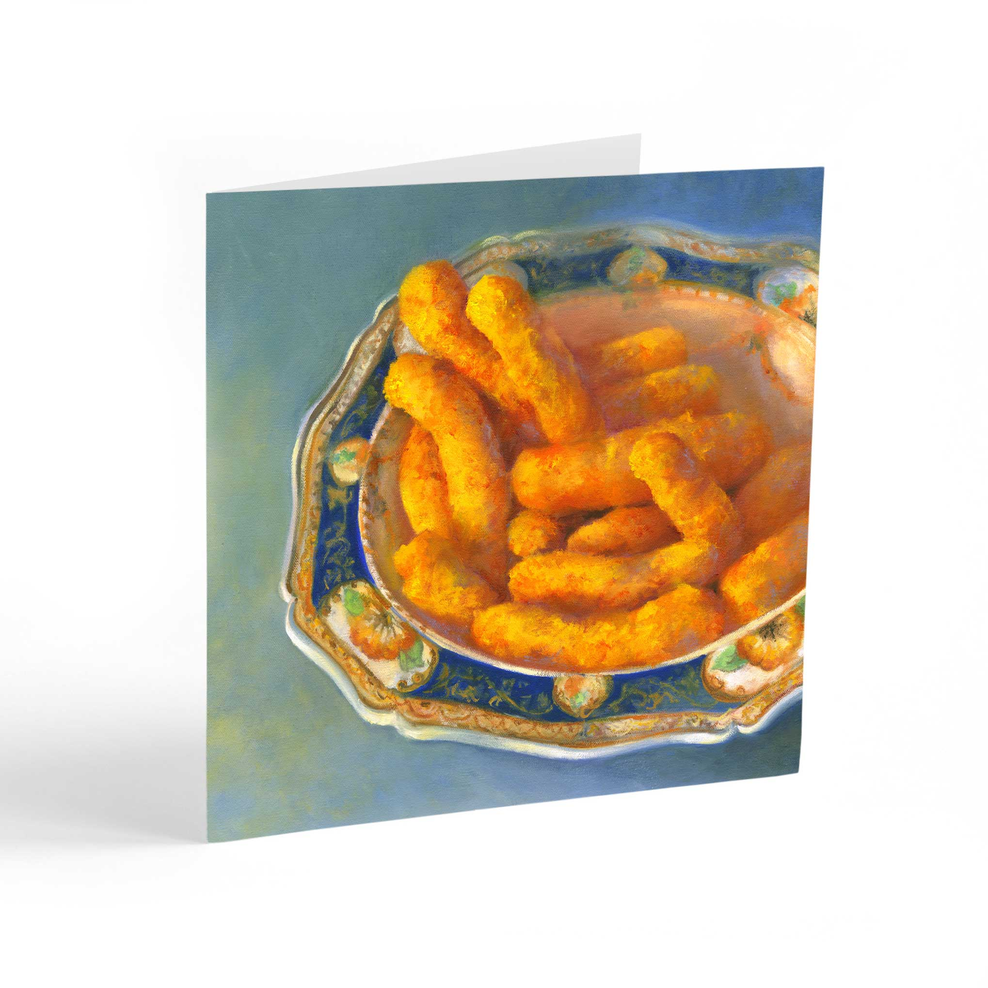 Cheez Puffs with Great Auntie : Note Cards - Galleria Fresco - food still life by Jo Bradney