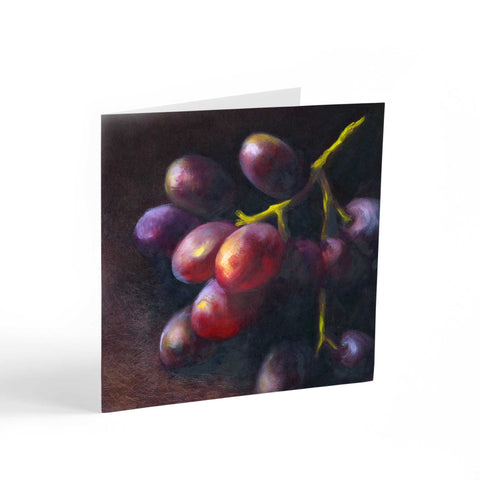 Wine Dark - Grapes Note Cards - Galleria Fresco - food still life by Jo Bradney