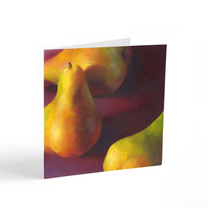 Warm Pears in Burgundy - Note Cards - Galleria Fresco - food still life by Jo Bradney