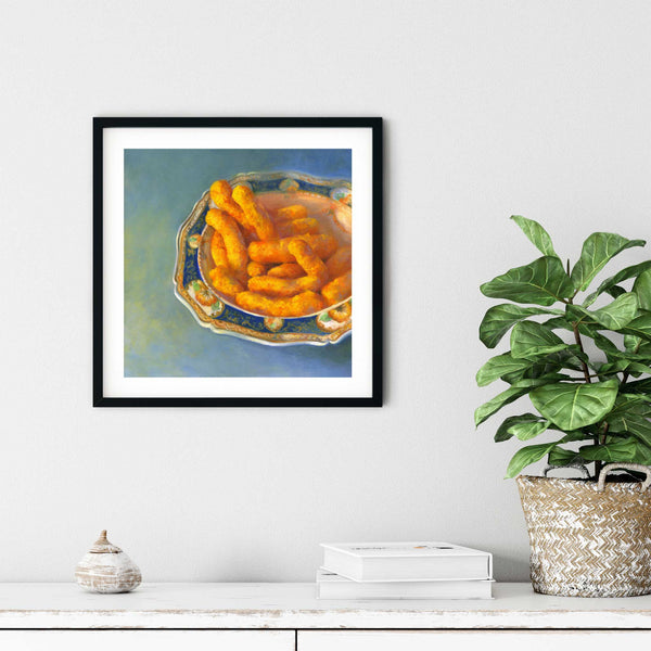 Cheese Puffs with Great Auntie - Art Print - Galleria Fresco - food still life by Jo Bradney