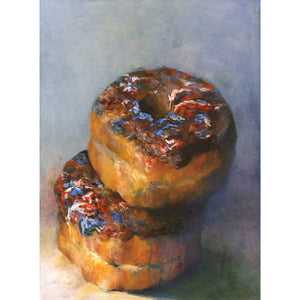 Star Spangled Splurge - Chocolate Donut Art Print - Galleria Fresco - food still life by Jo Bradney