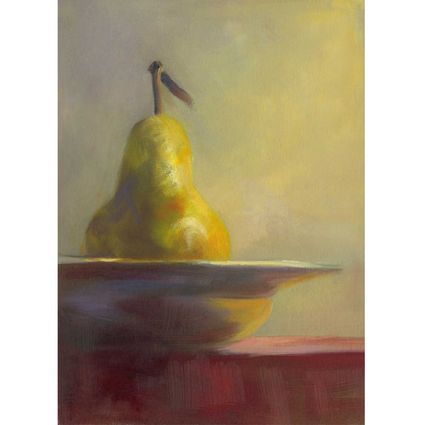 Gilded Pear on Marsala - Art Print - Galleria Fresco - food still life by Jo Bradney