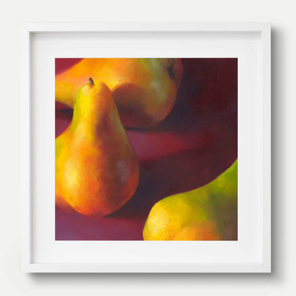Warm Pears in Burgundy - Art Print - Galleria Fresco - food still life by Jo Bradney