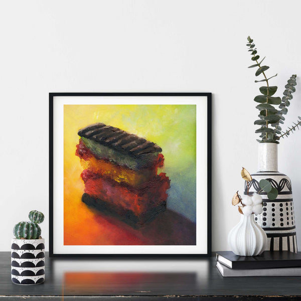Irresistible Joy - Rainbow Cookie Art Print - Galleria Fresco - food still life by Jo Bradney