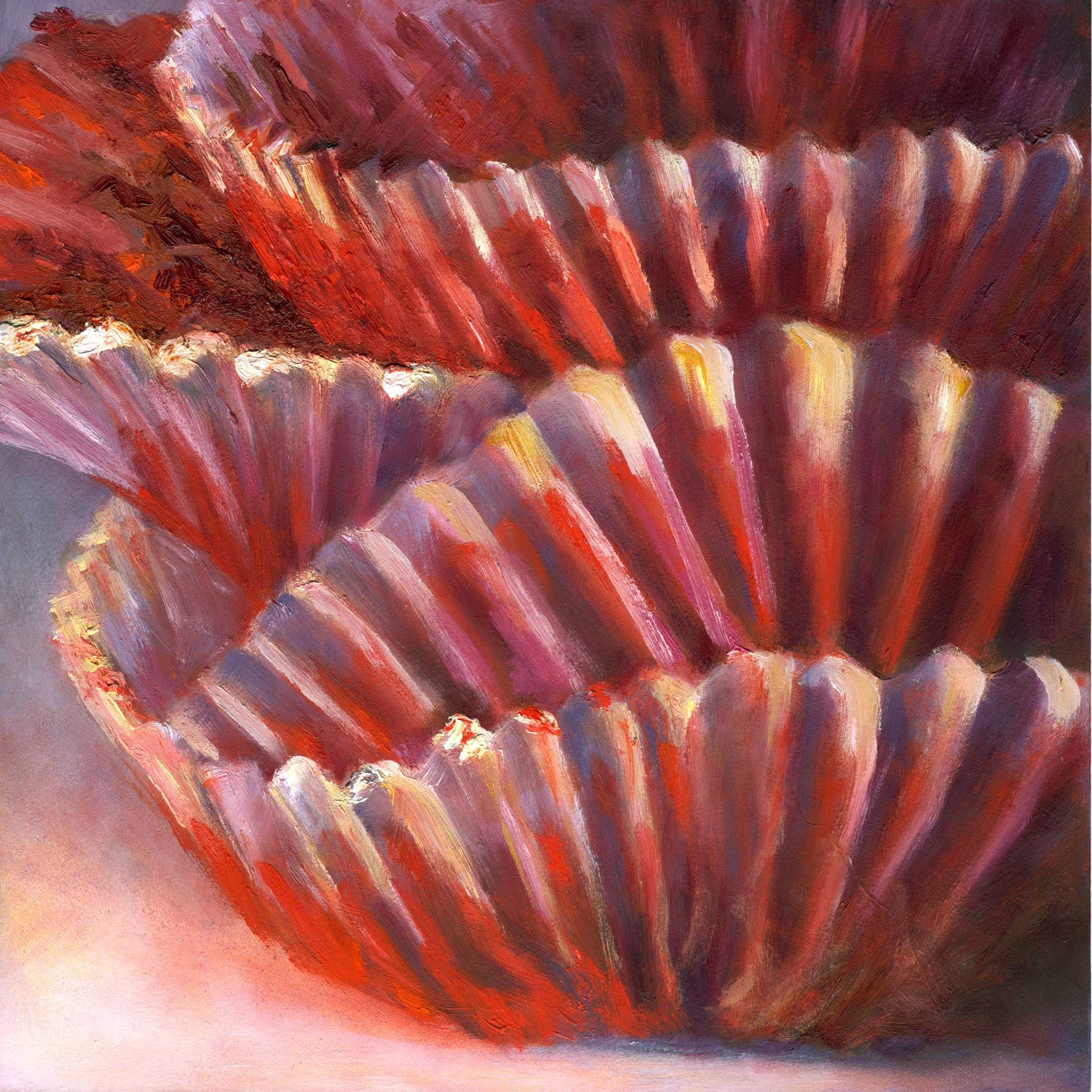 Red Velvet Ruffles - Cupcake Art Print - Galleria Fresco - food still life by Jo Bradney